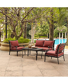 Portofino Cast Aluminum 4 Piece Conversation Set With Sangria Cushions - Loveseat, 2 Arm Chairs And Coffee Table