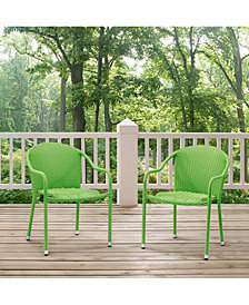 Palm Harbor Outdoor Wicker Stackable Chairs - Set Of 2