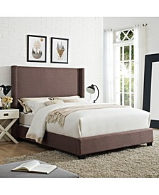 CLOSEOUT! Casey Wingback Upholstered Queen Bedset