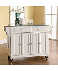 Solid Granite Top Kitchen Cart Island