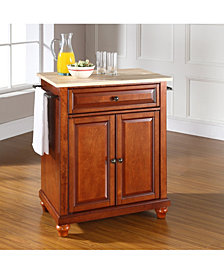 Cambridge Natural Wood Top Portable Kitchen Island