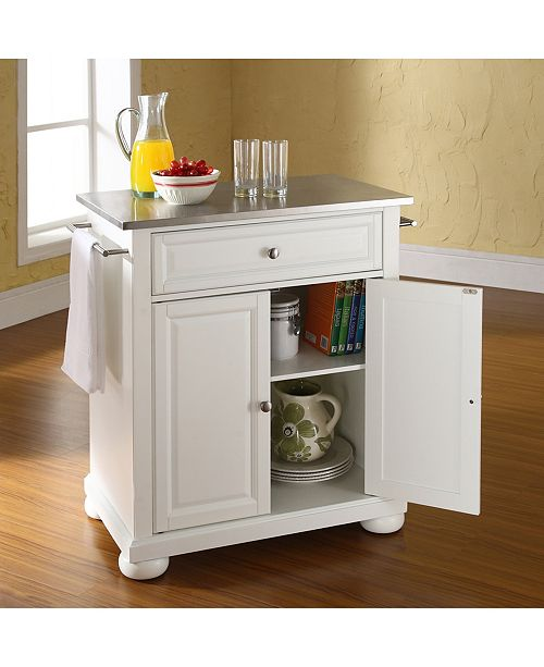 Alexandria Stainless Steel Top Portable Kitchen Island