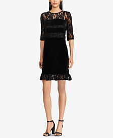 American Living Lace-Panel Stretch Velvet Dress