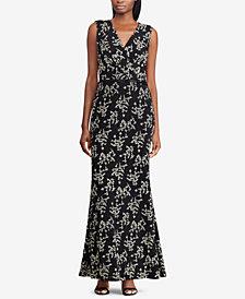 Lauren Ralph Lauren Fit & Flare Floral-Metallic Gown