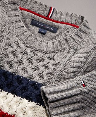 Tommy Hilfiger Mens Striped Chest Cable Knit Sweater Created For