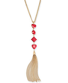 "Thalia Sodi Gold-Tone Crystal Fringe Linear Necklace, 28"" + 3"" extender, Created for Macy's"