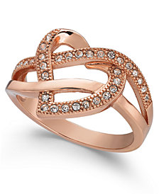 Charter Club Rose Gold-Tone Crystal Swirl Heart Band Ring, Created for Macy's