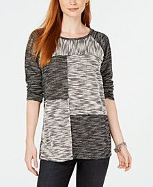 Style & Co Spacedyed Patchwork Sweater, Created for Macy's