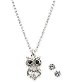 "Charter Club Silver-Tone Crystal Owl 18"" Pendant Necklace & Stud Earrings, Created for Macy's"
