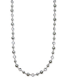 "Charter Club Silver-Tone Crystal & Imitation Pearl Strand Necklace, 42"" + 2"" extender, Created for Macy's"