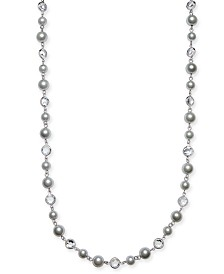 "Charter Club Crystal & Imitation Pearl Strand Necklace, 42"" + 2"" extender, Created for Macy's"
