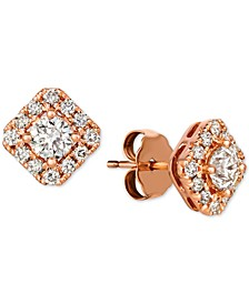 Diamond Halo Square Stud Earrings (3/4 ct. t.w.) in 14k Rose Gold