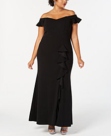 Betsy & Adam Plus Size Off-The-Shoulder Sweetheart Gown