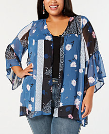 Style & Co Plus Size Mixed Floral-Print Kimono, Created for Macy's