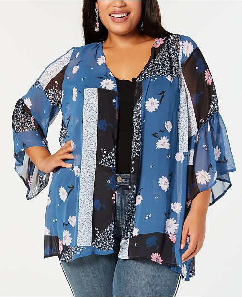 85d83326e ... Style & Co Plus Size Mixed Floral-Print Kimono, Created for Macy's ...