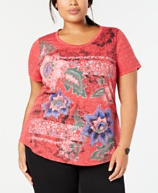 6574b4318b04b Style   Co Plus Size Graphic Flower-Print Top