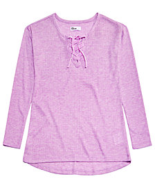 Epic Threads Big Girls Lace-Up Sweater-Knit Top, Created for Macy's