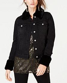 I.N.C. Leopard-Print Faux-Fur Trim Denim Jacket, Created for Macy's