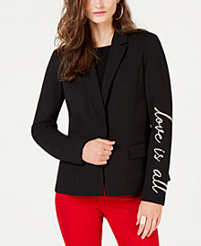 I.N.C. Embroidered-Sleeve Blazer, Created for Macy's
