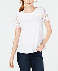 Charter Club Cotton Crochet Short-Sleeve T-Shirt, Created for Macy's