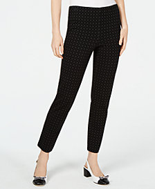 Charter Club Flocked-Print Pull-On Pants, Created for Macy's