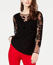 I.N.C. Velvet Burnout Sweater, Created for Macy's