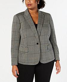Anne Klein Plus Size One-Button Plaid Blazer