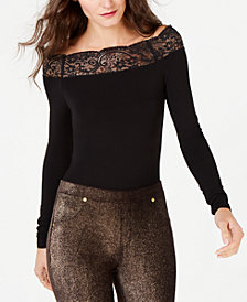MICHAEL Michael Kors Lace-Trim Off-The-Shoulder Bodysuit