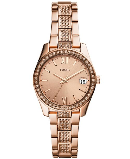f0a59e3b0d8d ... Fossil Women s Scarlette Rose Gold-Tone Stainless Steel Bracelet Watch  ...