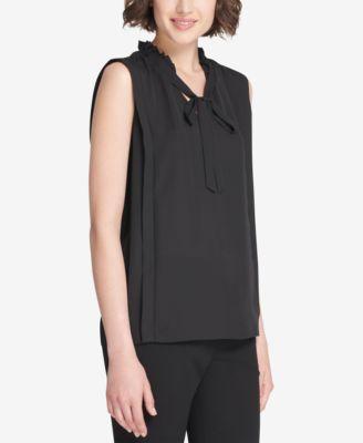 DKNY Ruffled Tie-Neck Sleeveless Blouse