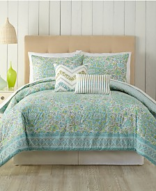 Indigo Bazaar Stamped Indian Floral Queen Comforter Set - 5 Piece