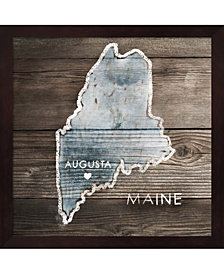 Maine Rustic Map by PI Galerie Framed Art