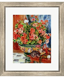 Geraniums And Cats 1 By Pierre-Auguste Renoir Framed Art