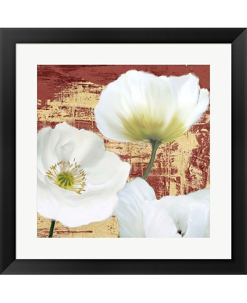 Metaverse Washed Poppies- Red and Gold Ii By Leonardo Sanna Framed Art