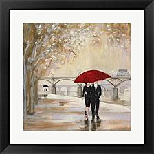 Romantic Paris Iii Red Umbrella By Julia Purinton Framed Art