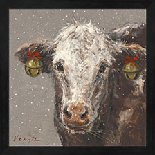 Patty The Brown Christmas Cow By Mary Miller Veazie Framed Art