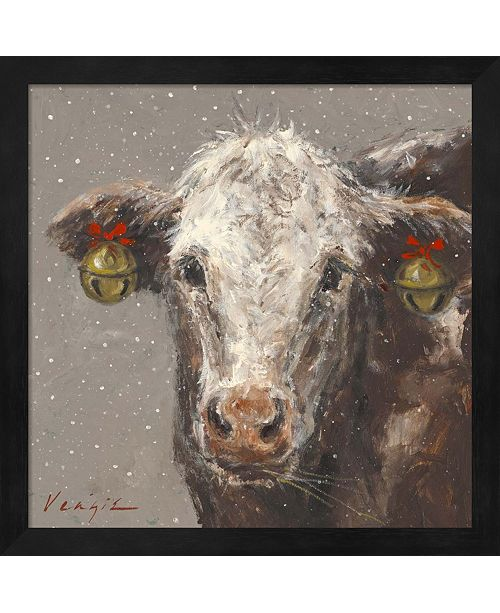 Metaverse Patty The Brown Christmas Cow By Mary Miller Veazie Framed Art