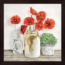 Floral Composition With Mason Jars Ii By Jenny Thomlinson Framed Art