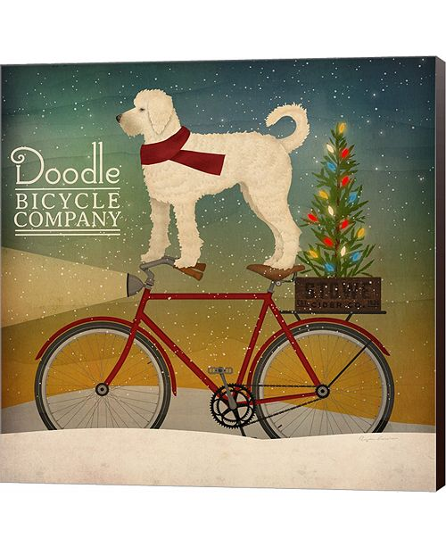 Metaverse White Doodle On Bike Christmas By Ryan Fowler Canvas Art