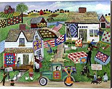 Country Folk Art Quilt Tag Sale by Cheryl Bartley Canvas Art