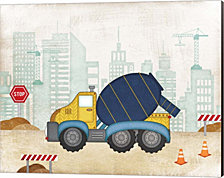 Cement Truck by Jennifer Pugh Canvas Art
