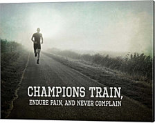 Champions Train Man Black and White by Sports Mania Canvas Art