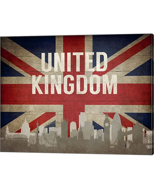 Metaverse London, United Kingdom - Flags And Skyline By Take Me Away Canvas Art