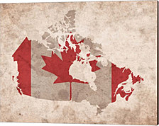 Map with Flag Overlay Canada by Color Me Happy Canvas Art