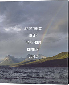 Great Things Never Came From Comfort Zones Strength - Rainbow by Color Me Happy Canvas Art