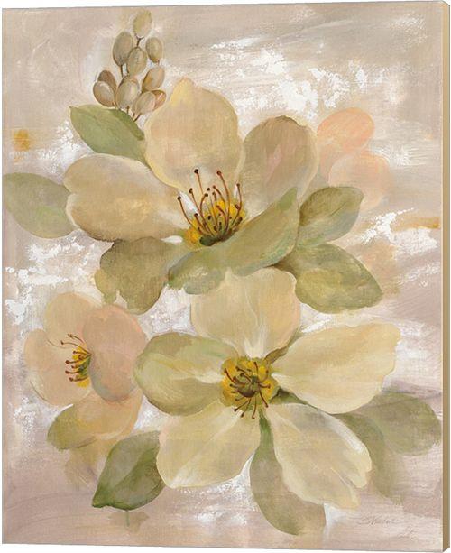 Metaverse White On White Floral I By Silvia Vassileva Canvas Art
