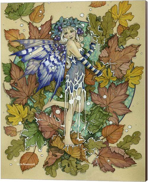 Metaverse Winter Leaf Fairy By Linda Ravenscroft Canvas Art