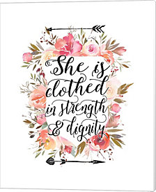 Clothed in Strength Floral by Tara Moss Canvas Art
