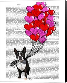 Boston Terrier And Balloons By Fab Funky Canvas Art