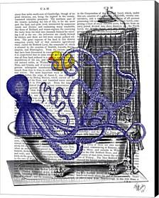 Octopus In Bath By Fab Funky Canvas Art